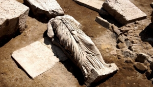 Marble sculpture of Isis in front of the temple in Stobi - Courtesy of NI Stobi