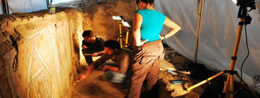 students and conservation experts preserve roman wall paintings in stobi
