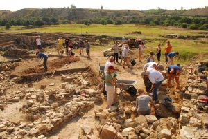 excavation site with international students
