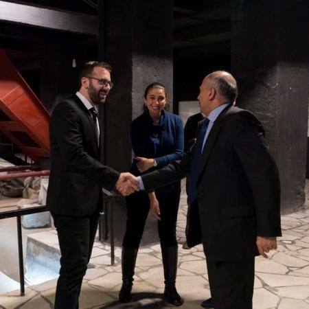Evdokimos Fregoglou and ambassador of Greece in Bulgaria : Dimitrios Chronopoulos
