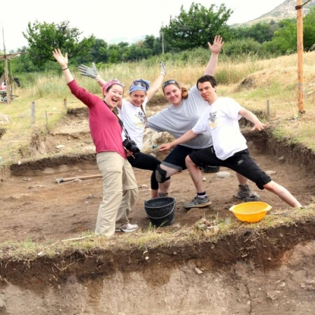 Archaeology Field School students having fun