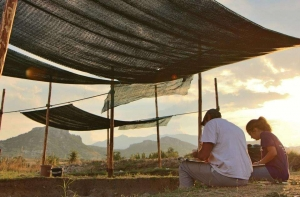 archaeology students under tents at Dusk