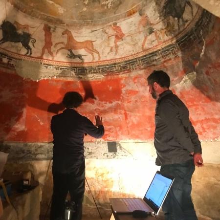 thracian tomb alexandrovo documentation two men