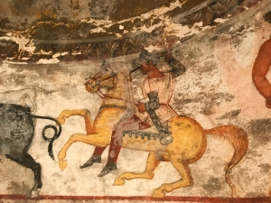 thracian wall painting man on horse