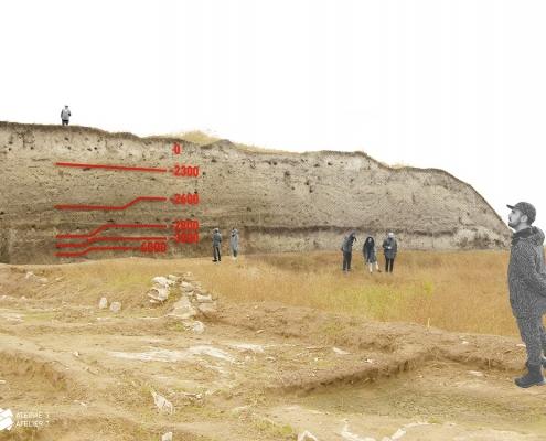 Prehistoric Tell Yunatsite stratigraphic layers timeline panel