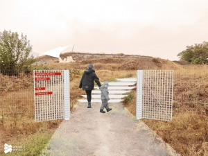 Prehistoric Tell Yunatsite visitor entrance design